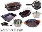 Купить «Set of different cook pan isolated on white background», фото № 30294970, снято 25 октября 2017 г. (c) Яков Филимонов / Фотобанк Лори