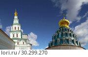 Купить «Resurrection Monastery(Voskresensky Monastery, Novoiyerusalimsky Monastery or New Jerusalem Monastery) against the sky--is a major monastery of the Russian Orthodox Church in Moscow region, Russia», видеоролик № 30299270, снято 12 марта 2019 г. (c) Владимир Журавлев / Фотобанк Лори
