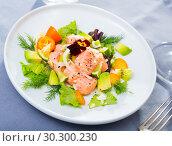Купить «Ceviche of trout with avocado, cumquat, greens», фото № 30300230, снято 21 октября 2019 г. (c) Яков Филимонов / Фотобанк Лори