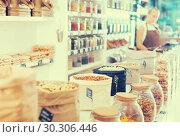 Купить «Photo of bags with dried fruits and nuts», фото № 30306446, снято 4 сентября 2017 г. (c) Яков Филимонов / Фотобанк Лори