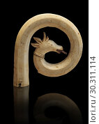 Medieval Bouquetin goats horn ivory crosier with traces of paint, circa 12th century from the south of Italy. Inv OA 11150, The Louvre Museum, Paris. Редакционное фото, фотограф Funkystock / age Fotostock / Фотобанк Лори