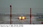 Купить «Airplane departure at rainy weather», видеоролик № 30313310, снято 24 июля 2017 г. (c) Игорь Жоров / Фотобанк Лори