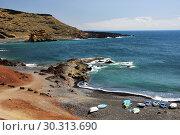 Купить «Lagoon El Golfo with the black beach. Lanzarote Island. Spain», фото № 30313690, снято 22 июня 2008 г. (c) Знаменский Олег / Фотобанк Лори