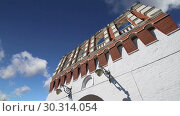 Купить «Kutafya Tower against the sky. Inside of Moscow Kremlin, Russia (day)», видеоролик № 30314054, снято 15 марта 2019 г. (c) Владимир Журавлев / Фотобанк Лори