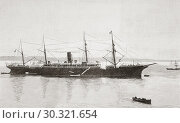 The steel screw steamer Reina Maria Cristina, seen here in the late 19th century. Sister ship of the first Alfonso XIII. After the sinking of the Alfonso... Стоковое фото, фотограф Classic Vision / age Fotostock / Фотобанк Лори