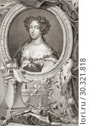 Mary II, 1662 - 1694. Queen of England, Scotland and Ireland, co-reigning with her husband King WIlliam III. From the 1813 edition of The Heads of Illustrious... Стоковое фото, фотограф Classic Vision / age Fotostock / Фотобанк Лори