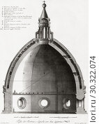Купить «Florence, Italy. The Duomo or cathedral of Santa Maria del Fiori. Cross-section of the dome. After a 19th century engraving.», фото № 30322074, снято 1 января 2019 г. (c) age Fotostock / Фотобанк Лори