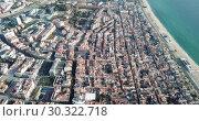 Купить «Aerial view of the spanish city of Badalona. Barcelona, Spain», видеоролик № 30322718, снято 19 января 2019 г. (c) Яков Филимонов / Фотобанк Лори