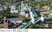 Купить «View from drones of churches in Trinity Lavra of St. Sergius Monastery, Sergiyev Posad», видеоролик № 30322722, снято 28 июня 2018 г. (c) Яков Филимонов / Фотобанк Лори