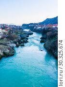 City of Mostar on the Neretva River, Bosnia-Herzegovina (2018 год). Стоковое фото, фотограф Николай Коржов / Фотобанк Лори