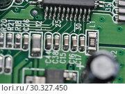 Купить «Electronic board with electronic components», фото № 30327450, снято 15 февраля 2019 г. (c) Владимир Белобаба / Фотобанк Лори