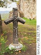 Купить «Cross of St. Nino from the vine, Gelati Monastery, Georgia», фото № 30327778, снято 26 сентября 2018 г. (c) Юлия Бабкина / Фотобанк Лори