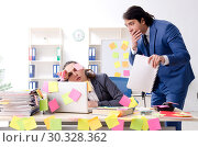 Купить «Two colleagues employees working in the office», фото № 30328362, снято 22 января 2019 г. (c) Elnur / Фотобанк Лори