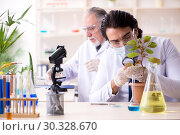 Купить «Two chemists working in the lab», фото № 30328670, снято 9 января 2019 г. (c) Elnur / Фотобанк Лори