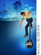 Купить «Young student in loan and debt concept», фото № 30330514, снято 19 марта 2019 г. (c) Elnur / Фотобанк Лори