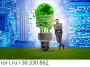 Купить «Concept of energy efficiency with lightbulb», фото № 30330862, снято 31 мая 2020 г. (c) Elnur / Фотобанк Лори