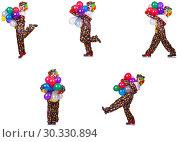Купить «Funny male clown isolated on white», фото № 30330894, снято 19 марта 2019 г. (c) Elnur / Фотобанк Лори