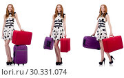 Купить «Beautiful woman in polka dot dress with suitcases isolated on wh», фото № 30331074, снято 22 апреля 2019 г. (c) Elnur / Фотобанк Лори