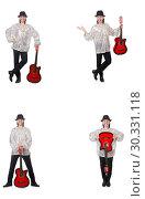 Купить «Young man with guitar isolated on white», фото № 30331118, снято 24 марта 2019 г. (c) Elnur / Фотобанк Лори