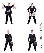 Купить «Businessman with money sacks, briefcase and handgun», фото № 30331126, снято 20 марта 2019 г. (c) Elnur / Фотобанк Лори