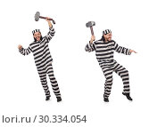 Prison inmate with hammer isolated on white. Стоковое фото, фотограф Elnur / Фотобанк Лори