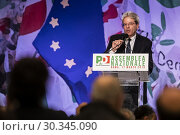 Купить «Former Prime Minister and president of the Democratic Party Paolo Gentiloni speaks during the National Assembly of the Democratic Party in Rome, ITALY-17-03-2019.», фото № 30345090, снято 17 марта 2019 г. (c) age Fotostock / Фотобанк Лори