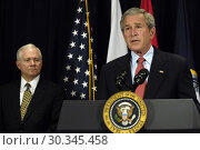 Купить «USA Washington DC -- 10 May 2007 -- President George W Bush addresses the press after a meeting in the Pentagon with Secretary of Defense Robert Gates...», фото № 30345458, снято 11 мая 2007 г. (c) age Fotostock / Фотобанк Лори