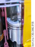 Купить «Internal combustion engine, cross section. The piston in the cylinder liner, the combustion chamber», фото № 30346918, снято 6 июня 2018 г. (c) Андрей Радченко / Фотобанк Лори
