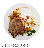 Купить «Picture of delicious fried pork with fried eggs at plate, nobody», фото № 30347618, снято 12 декабря 2019 г. (c) Яков Филимонов / Фотобанк Лори