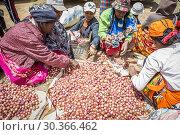 Onions stand, food market, Fianarantsoa city, Madagascar. Редакционное фото, фотограф Lucas Vallecillos / age Fotostock / Фотобанк Лори
