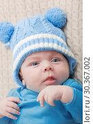 Купить «baby 2 months on bed», фото № 30367002, снято 21 января 2019 г. (c) Майя Крученкова / Фотобанк Лори