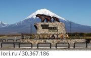 Купить «Памятник медведям на фоне вулкана», фото № 30367186, снято 24 сентября 2017 г. (c) А. А. Пирагис / Фотобанк Лори