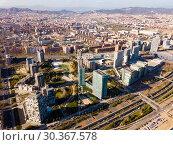 Купить «Aerial view of district of Barcelona with modern apartment buildings», фото № 30367578, снято 5 марта 2019 г. (c) Яков Филимонов / Фотобанк Лори