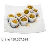 Купить «Delicious herring rolls with olives», фото № 30367594, снято 27 марта 2019 г. (c) Яков Филимонов / Фотобанк Лори