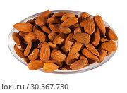 Купить «Image of roasted salt almonds on glass bowl, nobody», фото № 30367730, снято 16 июля 2019 г. (c) Яков Филимонов / Фотобанк Лори