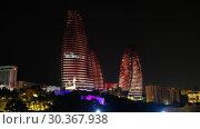 Night view of Baku Flame Towers, Azerbaijan (2019 год). Редакционное видео, видеограф Serg Zastavkin / Фотобанк Лори