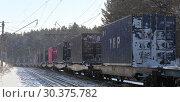 Перевозка контейнеров по Транссибуна высокой сорости. Западная Сибирь (2019 год). Редакционное фото, фотограф Анатолий Матвейчук / Фотобанк Лори
