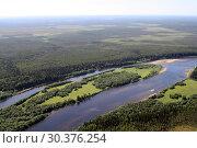 Купить «Лесные и степные просторы и широкая река в Республике Коми в России вид с вертолета», фото № 30376254, снято 1 июля 2011 г. (c) Polina Boytsova / Фотобанк Лори