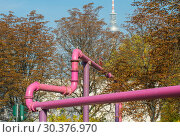 Купить «Above-ground drainage pipes from construction sites in Berlin», фото № 30376970, снято 17 октября 2018 г. (c) Caro Photoagency / Фотобанк Лори