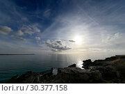 Spain, Mallorca - coastal landscape at Es Trenc beach (2019 год). Редакционное фото, агентство Caro Photoagency / Фотобанк Лори