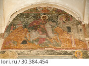 Купить «Pictures & images of the medieval fresco of St George over the doorway of the Alaverdi St George Cathedral & monastery complex, 11th century, near Telavi, Georgia (country).», фото № 30384454, снято 25 июля 2018 г. (c) age Fotostock / Фотобанк Лори