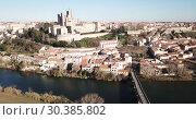 Купить «Aerial view of Beziers with Old Bridge and Cathedral of Saint Nazaire, France», видеоролик № 30385802, снято 6 января 2019 г. (c) Яков Филимонов / Фотобанк Лори