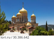 The Church of all Saints in the land of the Russian brightened of the Russian Orthodox Gornensky convent of the Russian Spiritual Mission, Ein Kerem. Israel (2018 год). Стоковое фото, фотограф Наталья Волкова / Фотобанк Лори