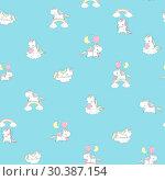 Купить «Unicorn Rainbow Seamless Pattern Print Decor for Kid Fairy Room Wall. Happy Fun Pony Fly on Balloon Abstract Element. Magic Holiday Fairytale Design for Child Flat Cartoon Vector Illustration.», иллюстрация № 30387154 (c) Olga Petrakova / Фотобанк Лори