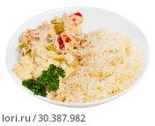 Купить «Thai Red Curry with rice», фото № 30387982, снято 15 октября 2019 г. (c) Яков Филимонов / Фотобанк Лори