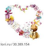 Heart frame from presents. Watercolor hand drawn illustration. Стоковая иллюстрация, иллюстратор Мария Кутузова / Фотобанк Лори