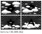 Купить «Background with clouds and space for text. Radial rays from center of frame with effect explosion. Template for design. Black and white vector illustration», иллюстрация № 30389362 (c) Dmitry Domashenko / Фотобанк Лори