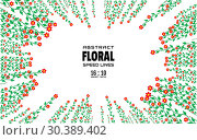 Floral abstract background with space for text. Radial rays from center of frame with effect explosion. Template for design. Vector. Стоковая иллюстрация, иллюстратор Dmitry Domashenko / Фотобанк Лори