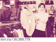 Купить «Smiling woman is deciding on warm sweater», фото № 30389778, снято 7 февраля 2017 г. (c) Яков Филимонов / Фотобанк Лори