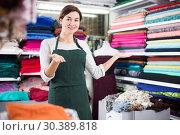 Купить «Seller showing assortment», фото № 30389818, снято 4 января 2017 г. (c) Яков Филимонов / Фотобанк Лори